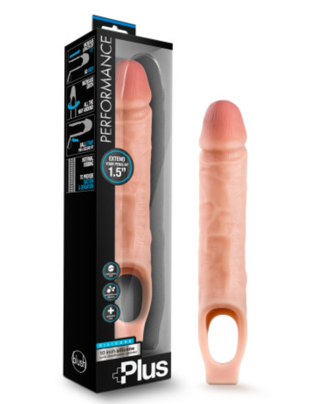Performance Plus 10 Inch Silicone Penis Extender - Vanilla