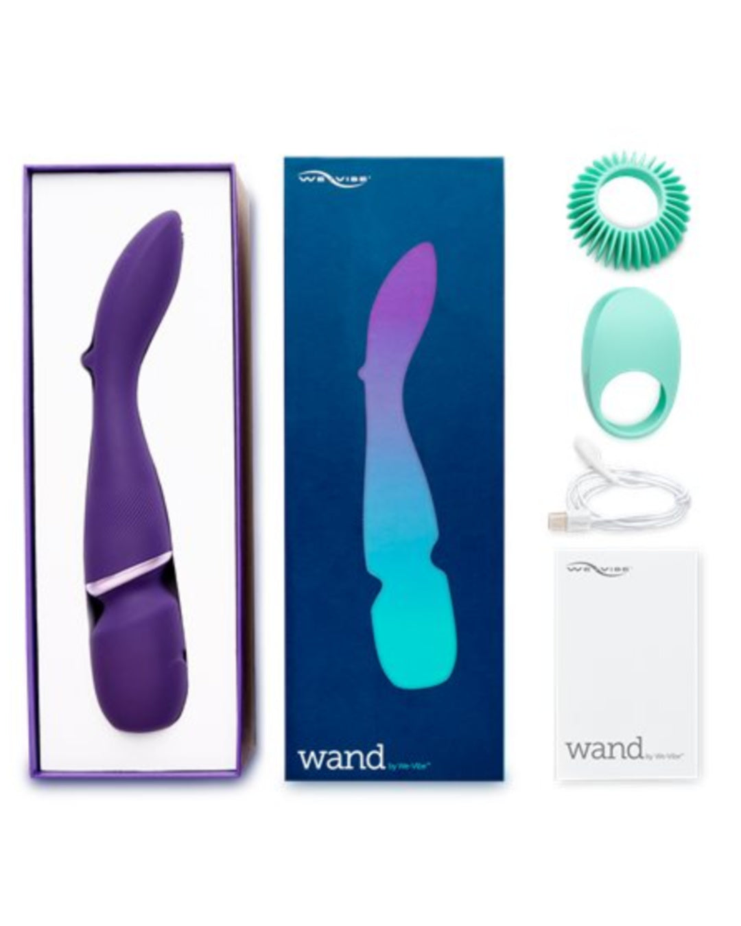 We-Vibe Wand Cordless Waterproof Rechargeable Wand Vibrator in the box with the two attachments