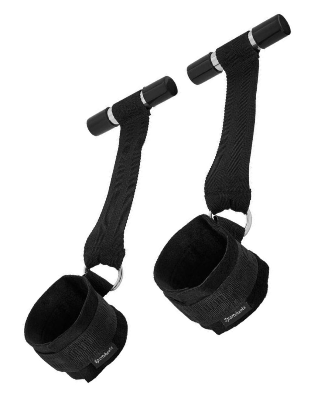 Door Jam Cuffs by Sportsheets - Black with the cuffs done up