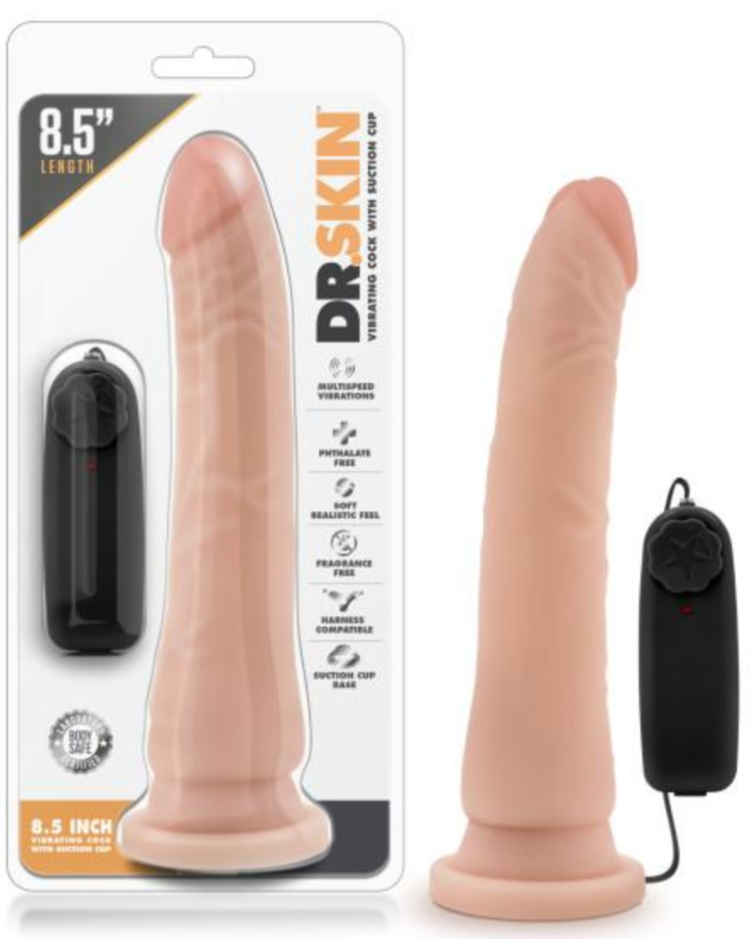 Dr Skin 8.5 Vibrating Dildo By Blush Novelties in Package Vanilla