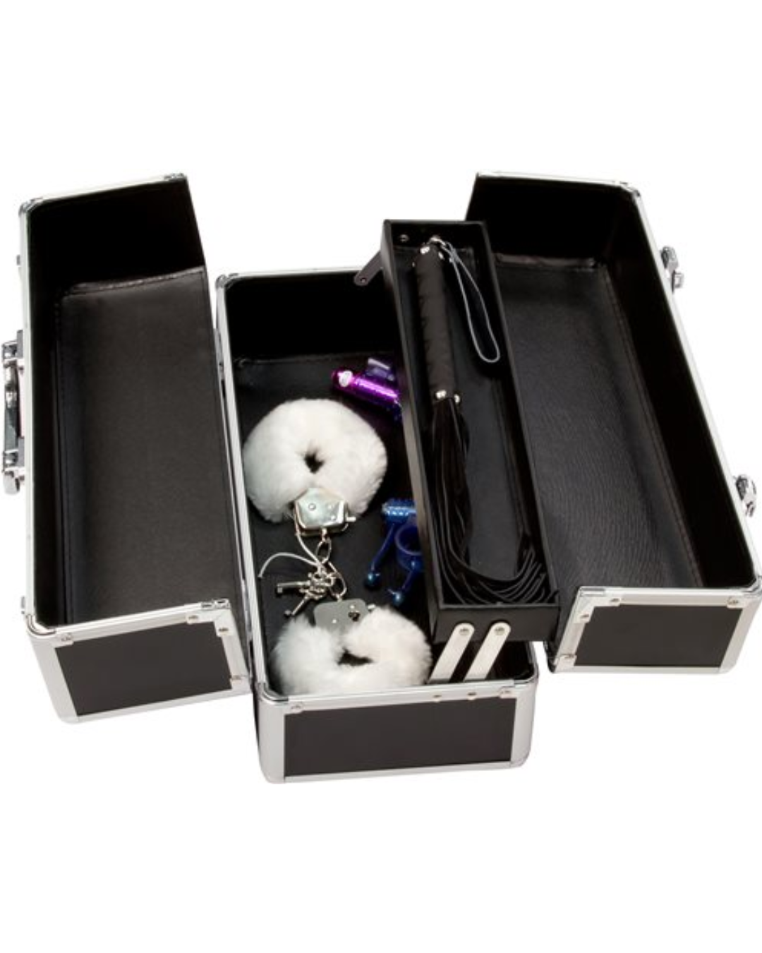 Lockable Sex Toy Storage Case Large - Black open and filled with toys