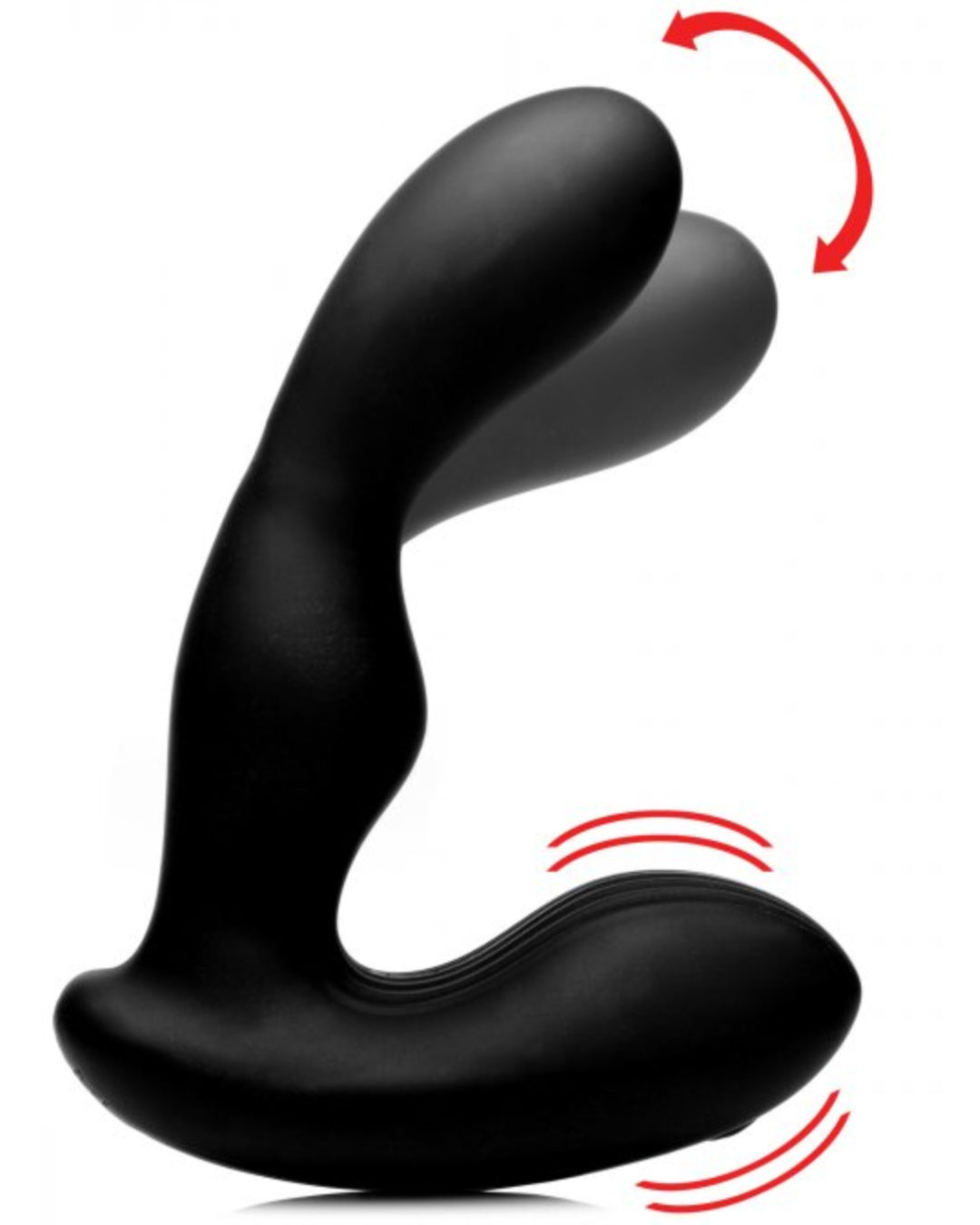 Alpha Pro P-STROKE Silicone Prostate Stimulator with Stroking Shaft - Black