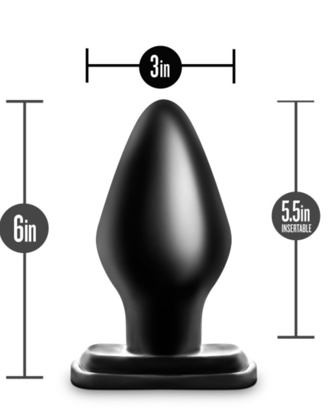 Anal Adventures XXL Butt Plug by Blush Novelties Dimensions
