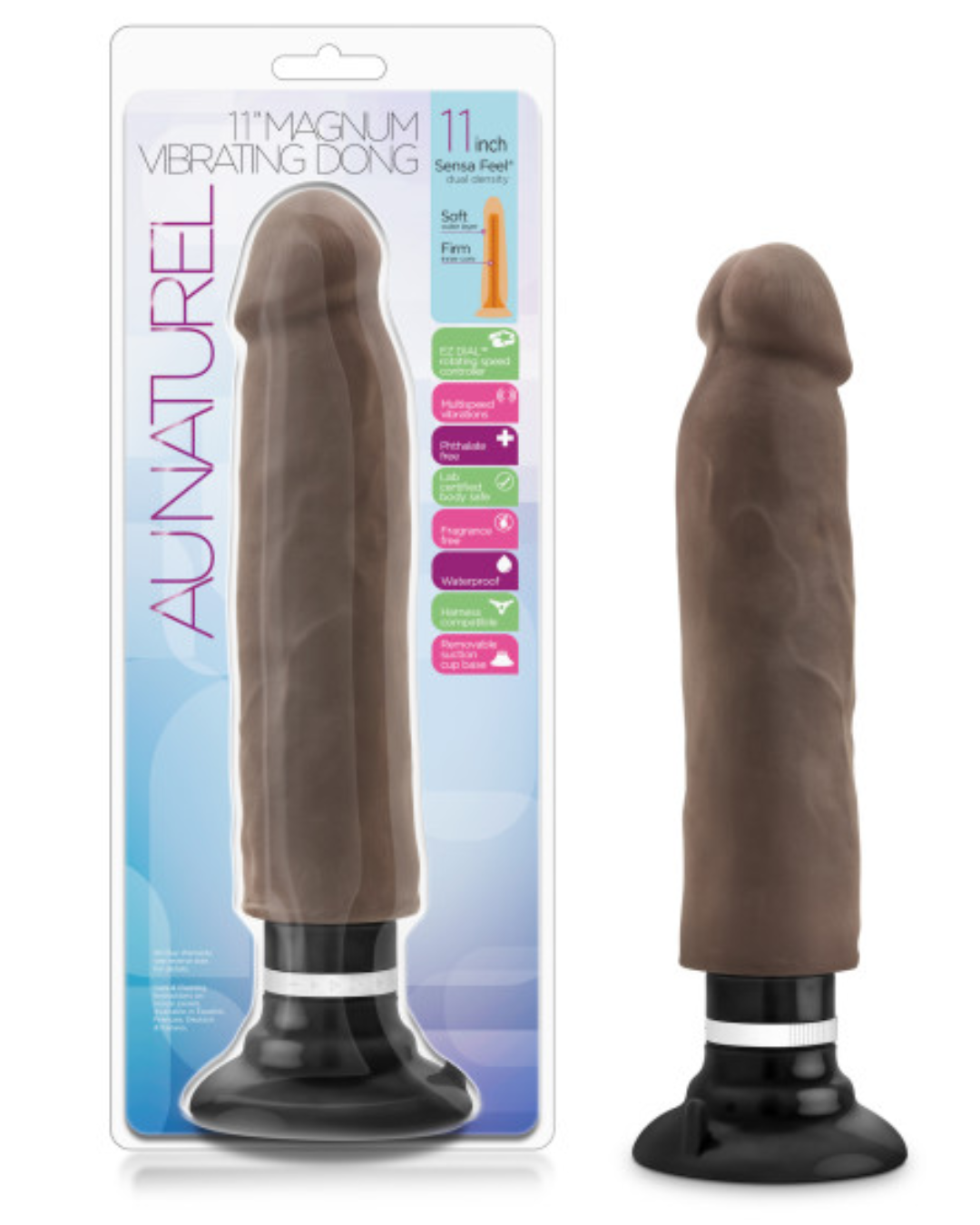 Au Naturel Magnum Sensa Feel Vibrating Dildo by Blush - Chocolate with package