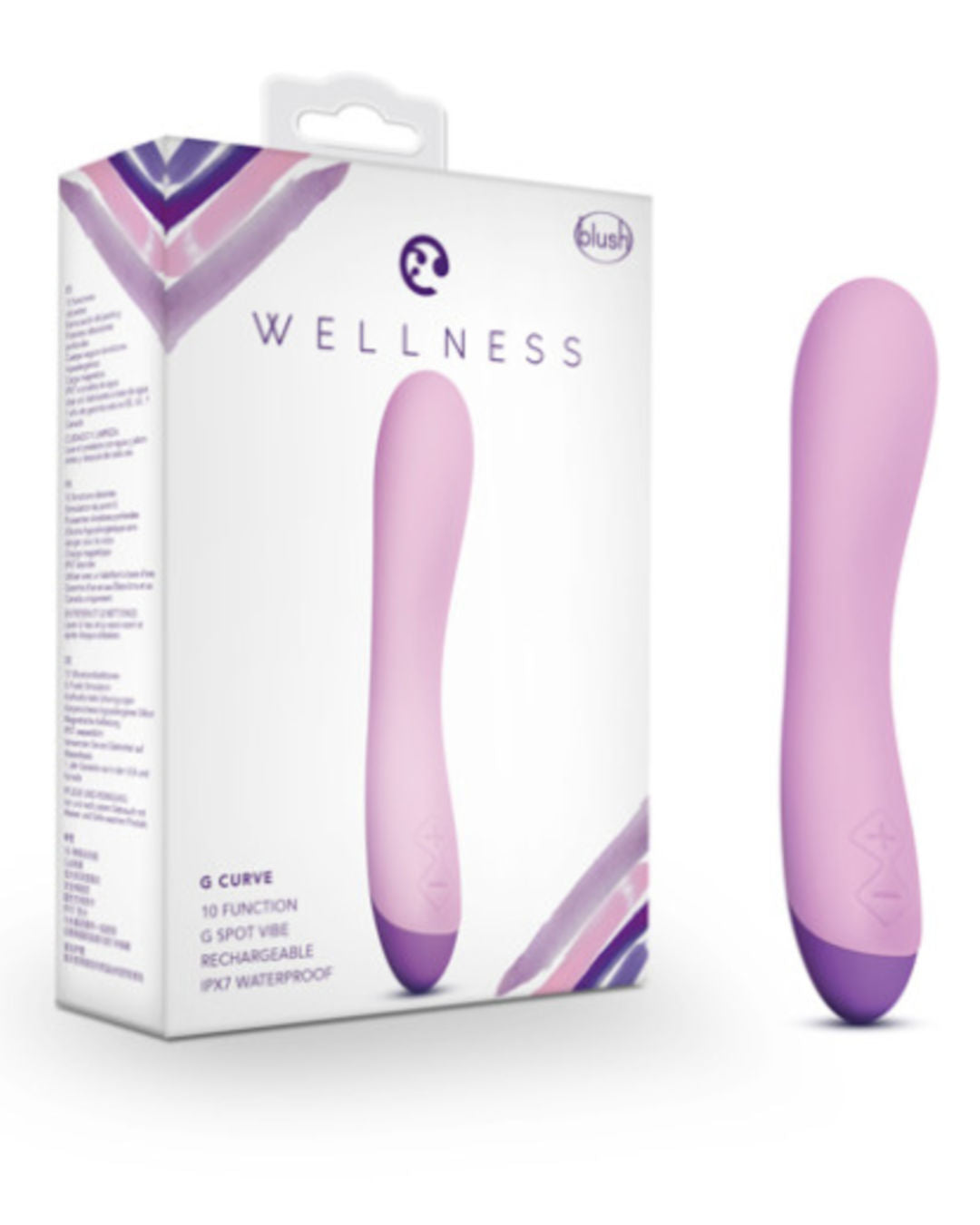 Wellness G Curve Waterproof Silicone G-Spot Vibrator - Purple with box