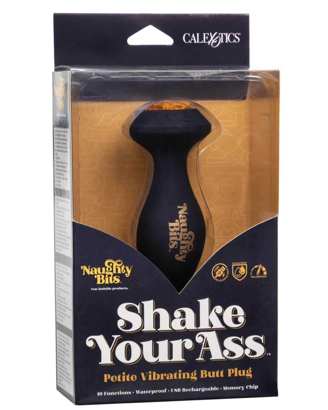 Naughty Bits Shake Your Ass Petite Vibrating Silicone Butt Plug in box