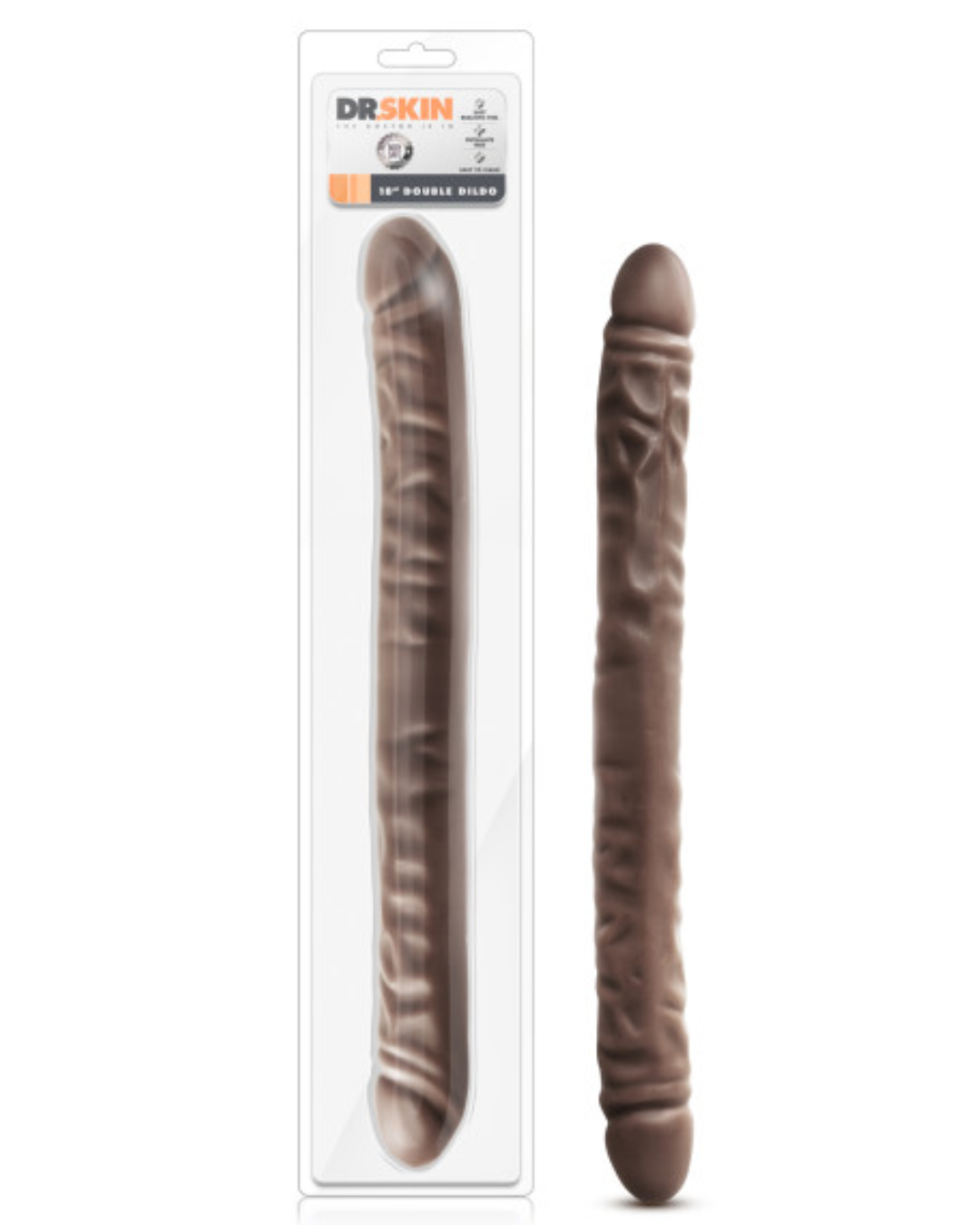 Dr. Skin 18 Inch Realistic Double Dildo - Chocolate package