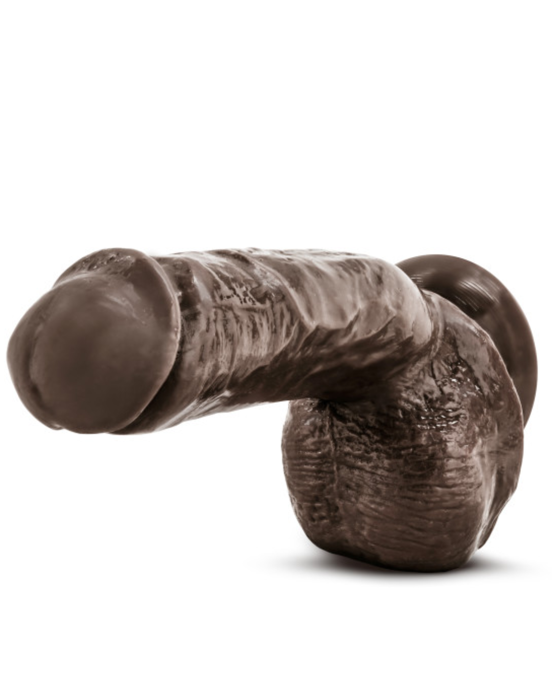 X5 Hard On Realistic 8.75 Inch Suction Cup Dildo - Chocolate horizontal with close up of the tip