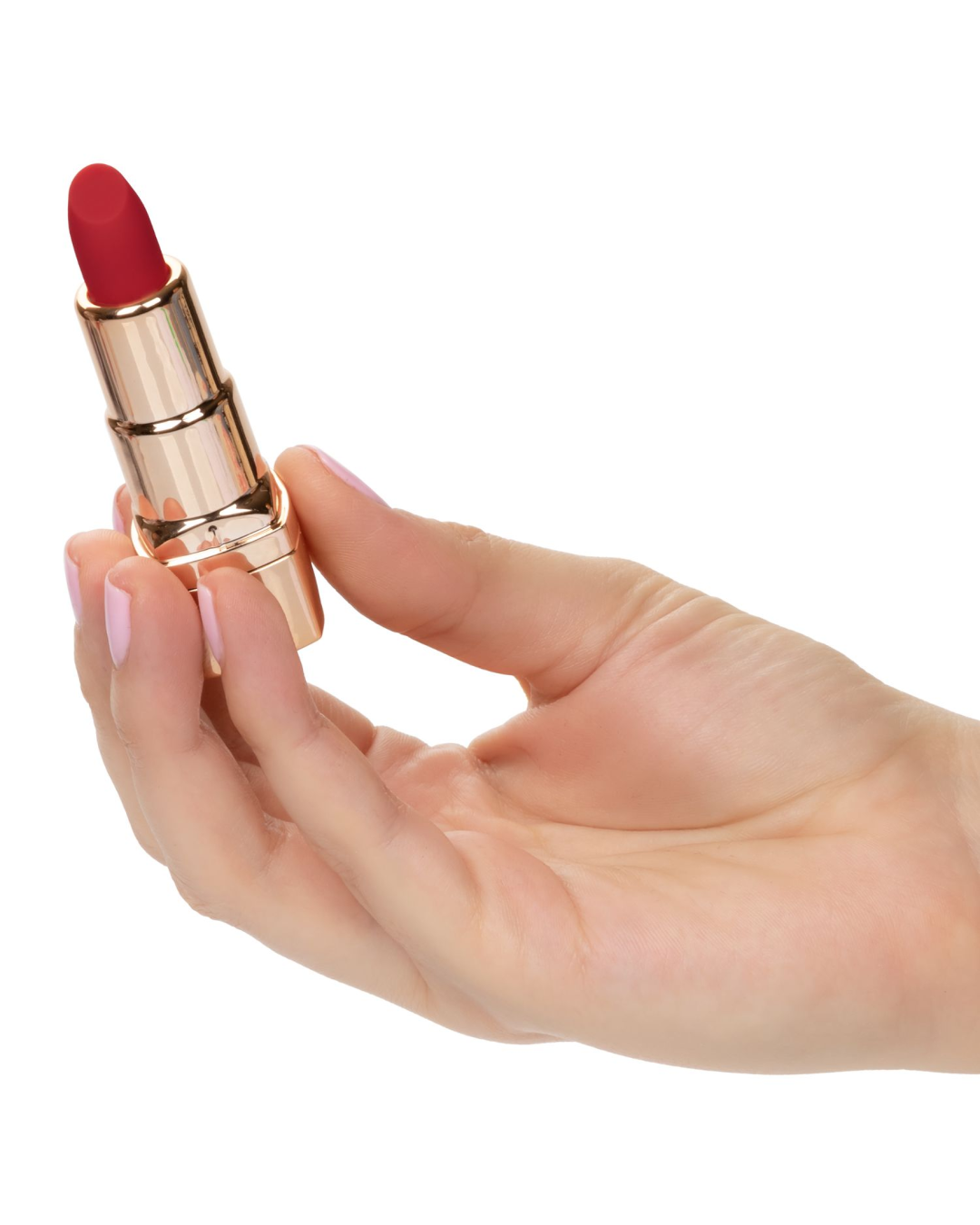 Hide and Play Rechargeable Lipstick Vibrator - Red held in a hand