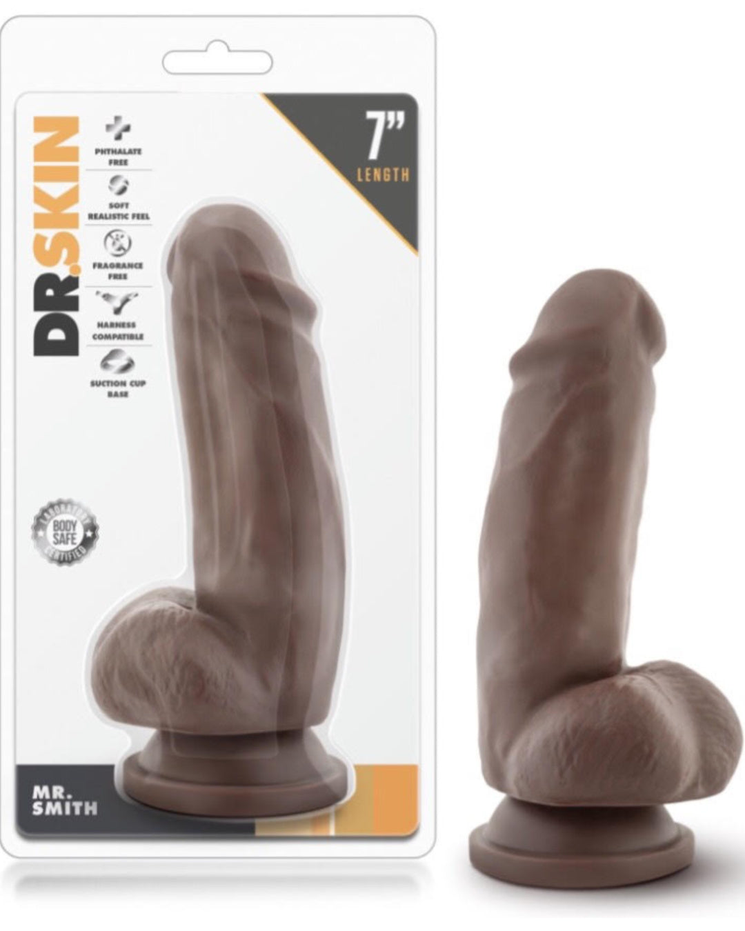 Dr Skin Mr Smith 7 Inch Dildo with Suction Cup by Blush Novelties - Chocolate in package
