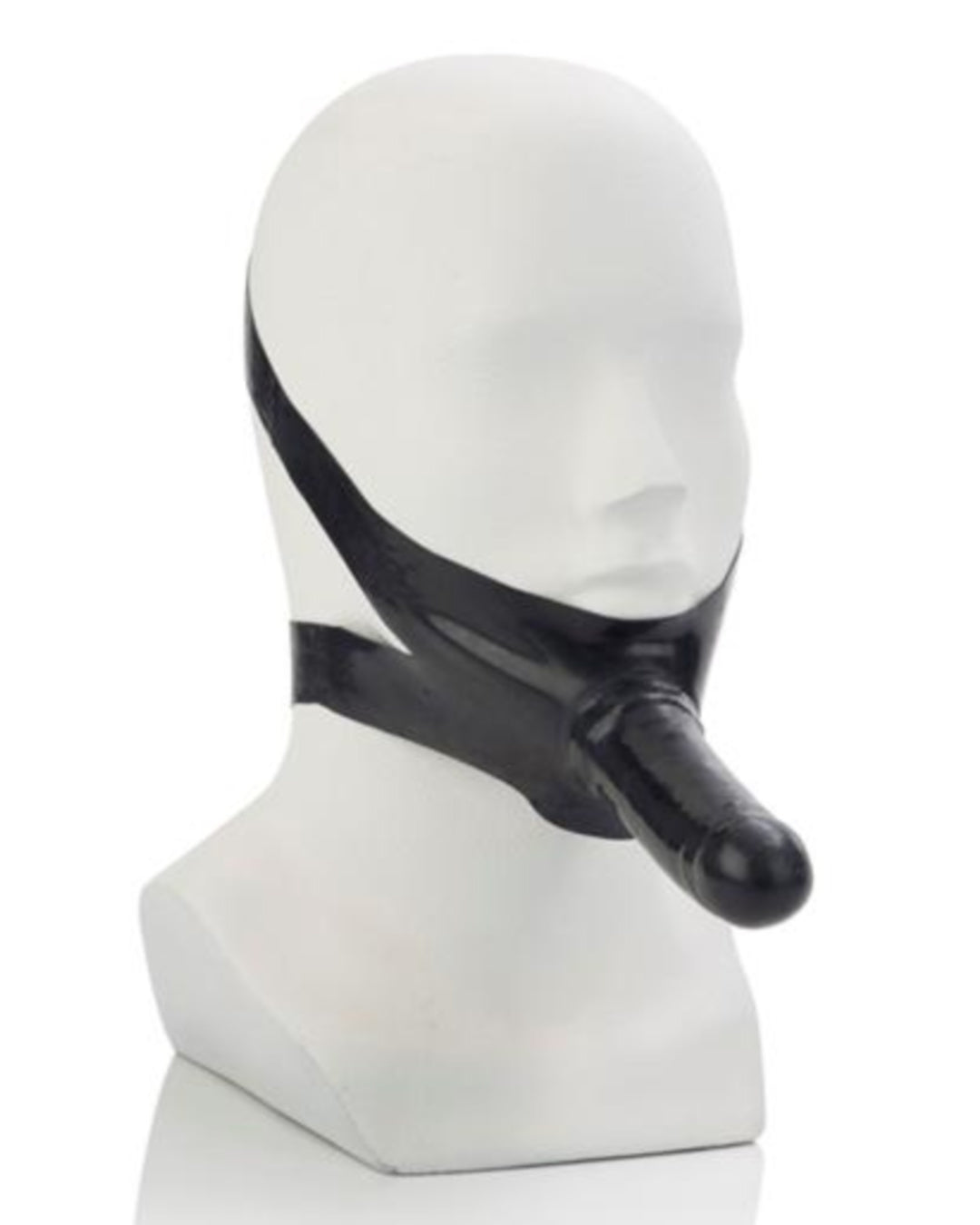 The Original Accommodator Latex Chin Strap Dildo - Black worn on a mannequin