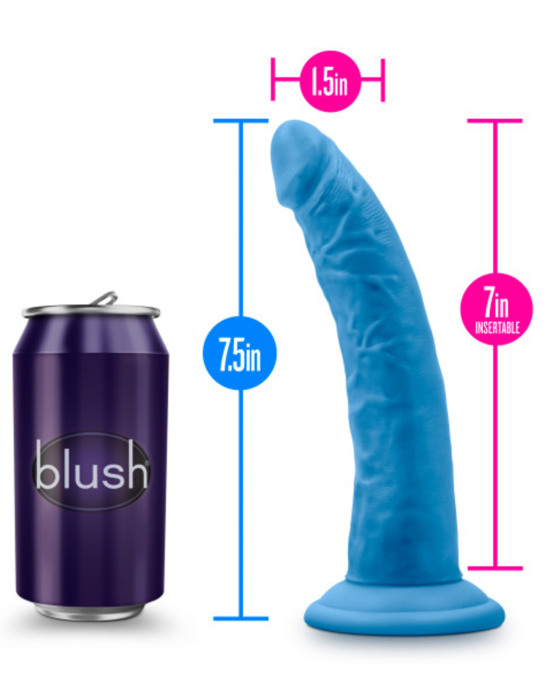 Neo Elite 7.5 Inch Dual Density Silicone Dildo by Blush - Neon Blue showing the measurements against an average sized pop can