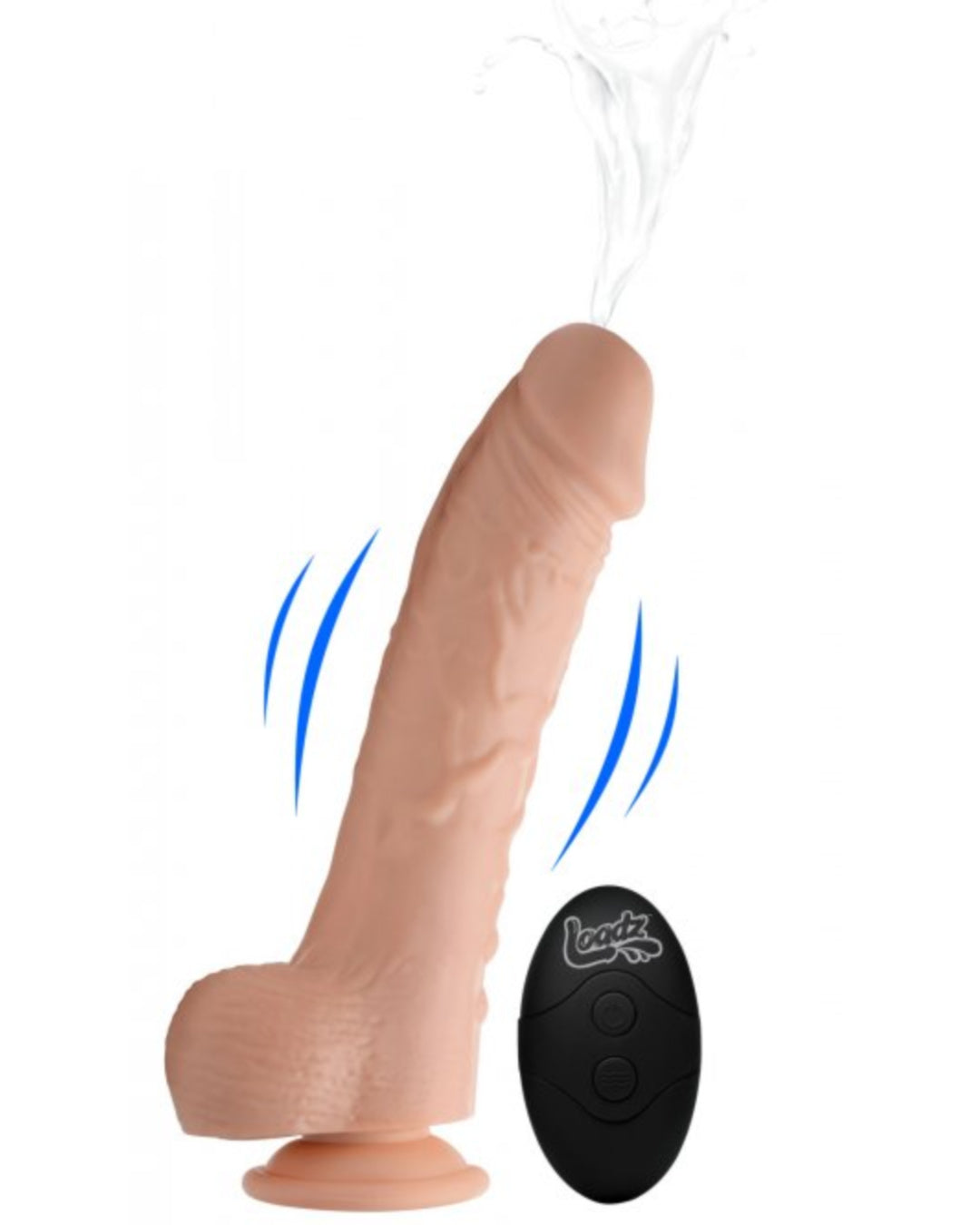 Loadz 7 Inch Vibrating Squirting Dildo with Wireless Remote Control - Vanilla showing the squirting and vibrating functions