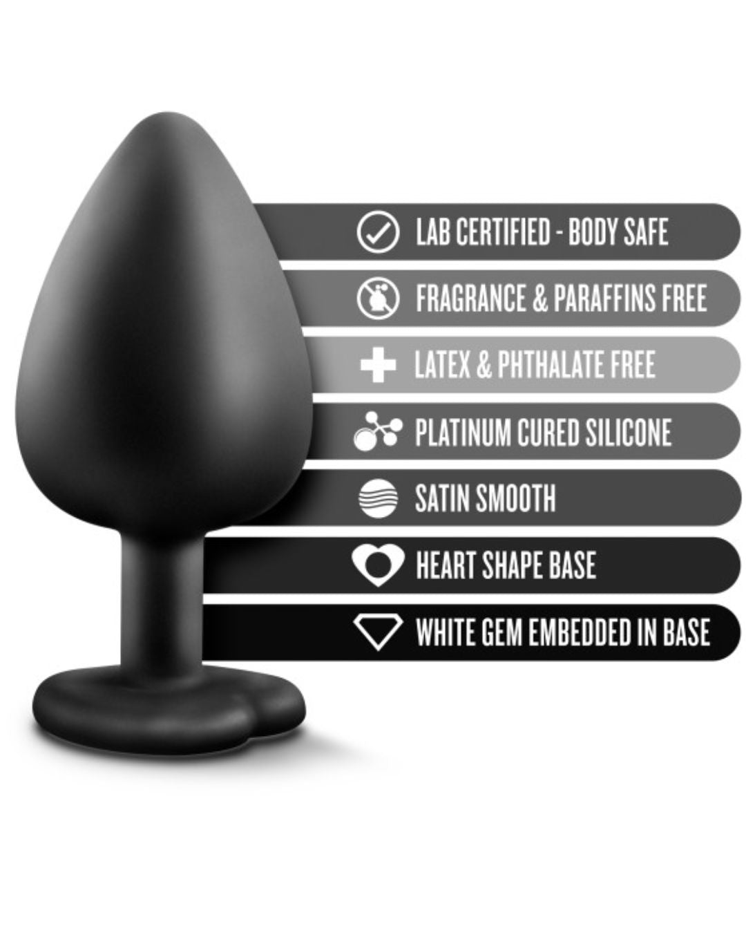 Temptasia Bling Large Silicone Butt Plug by Blush - Black