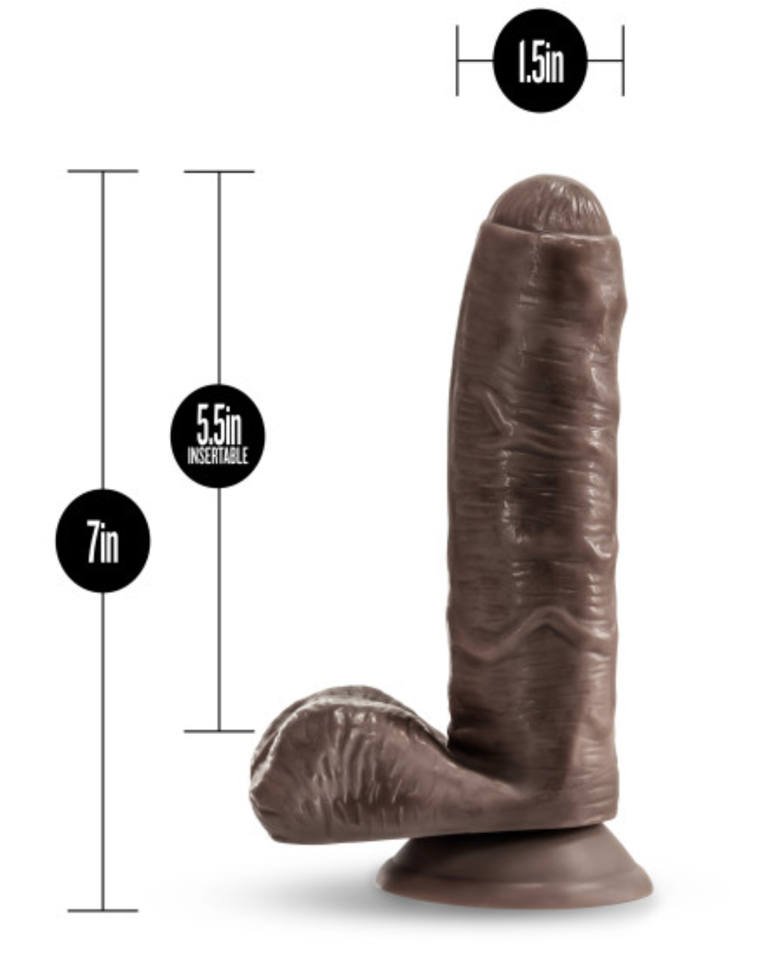 Loverboy Dildos - Pierre the Chef 7 Inch Uncut Dildo by Blush - Chocolate with measurements