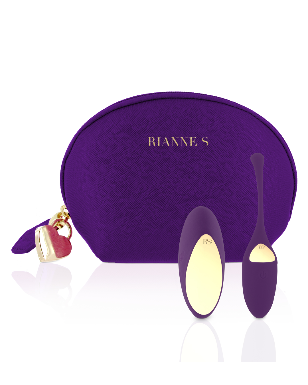 Rianne S Pulsy Playball Remote Control Kegel Exerciser - Deep Purple with matching purple makeup case