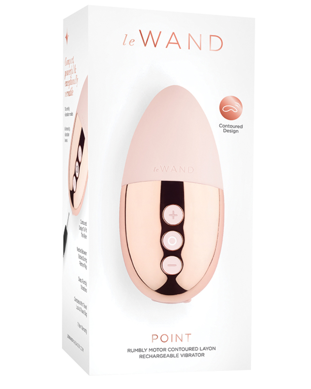 Le Wand Point Weighted Waterproof Silicone Lay-On Vibrator - Rose Gold box