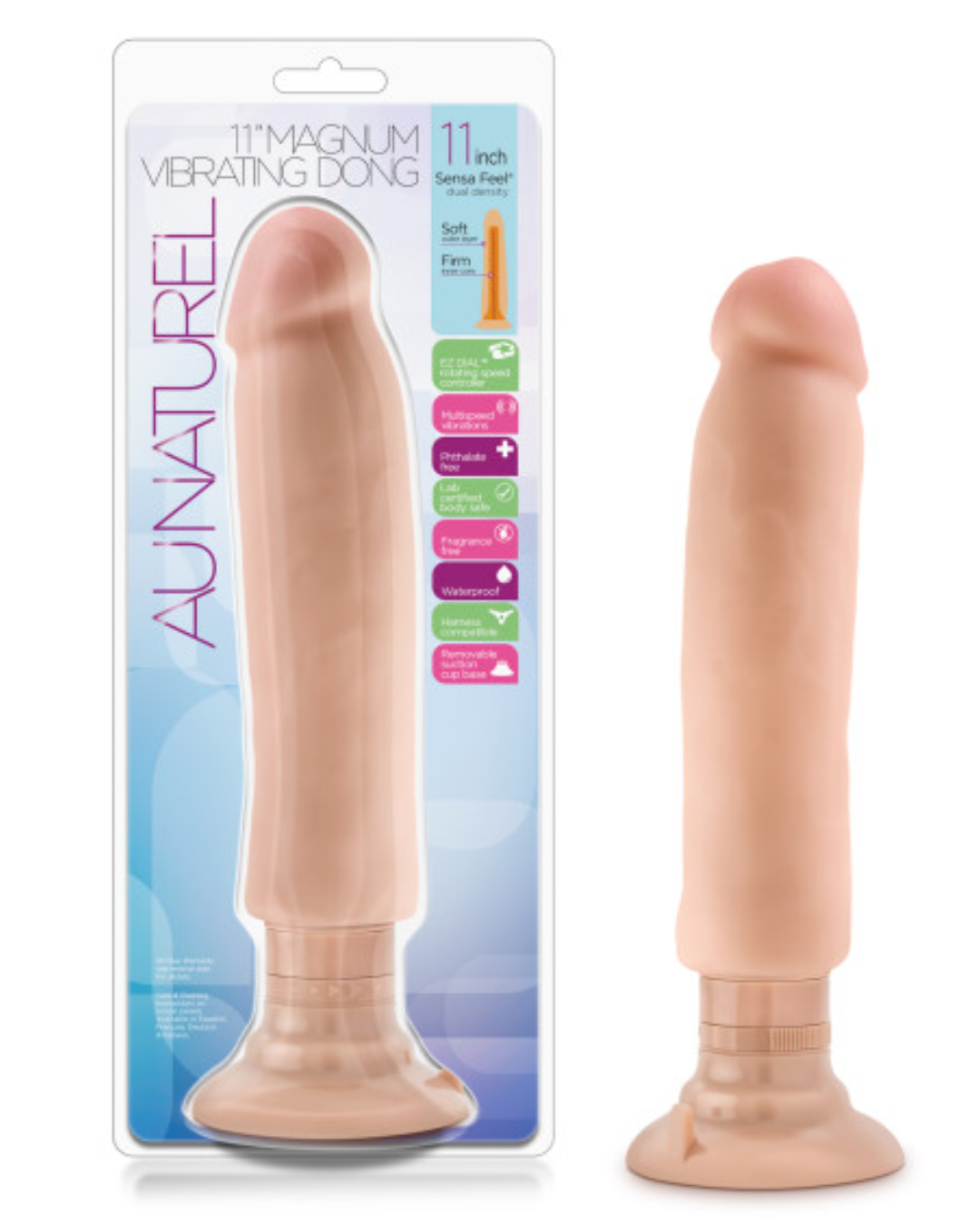 Au Naturel Magnum Sensa Feel Vibrating Dildo - Vanilla