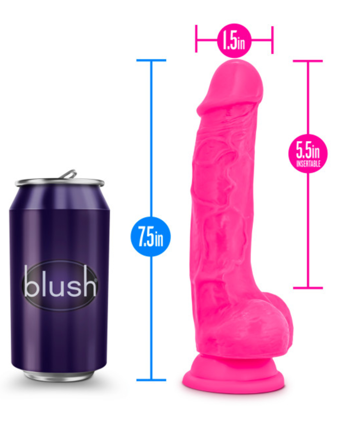 Neo Elite 7.5 Inch Dual Density Silicone Dildo with Balls by Blush - Neon Pink