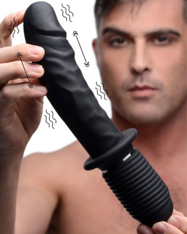 Power Pounder 10.75 Inch Vibrating And Thrusting Waterproof Silicone Dildo held by a model