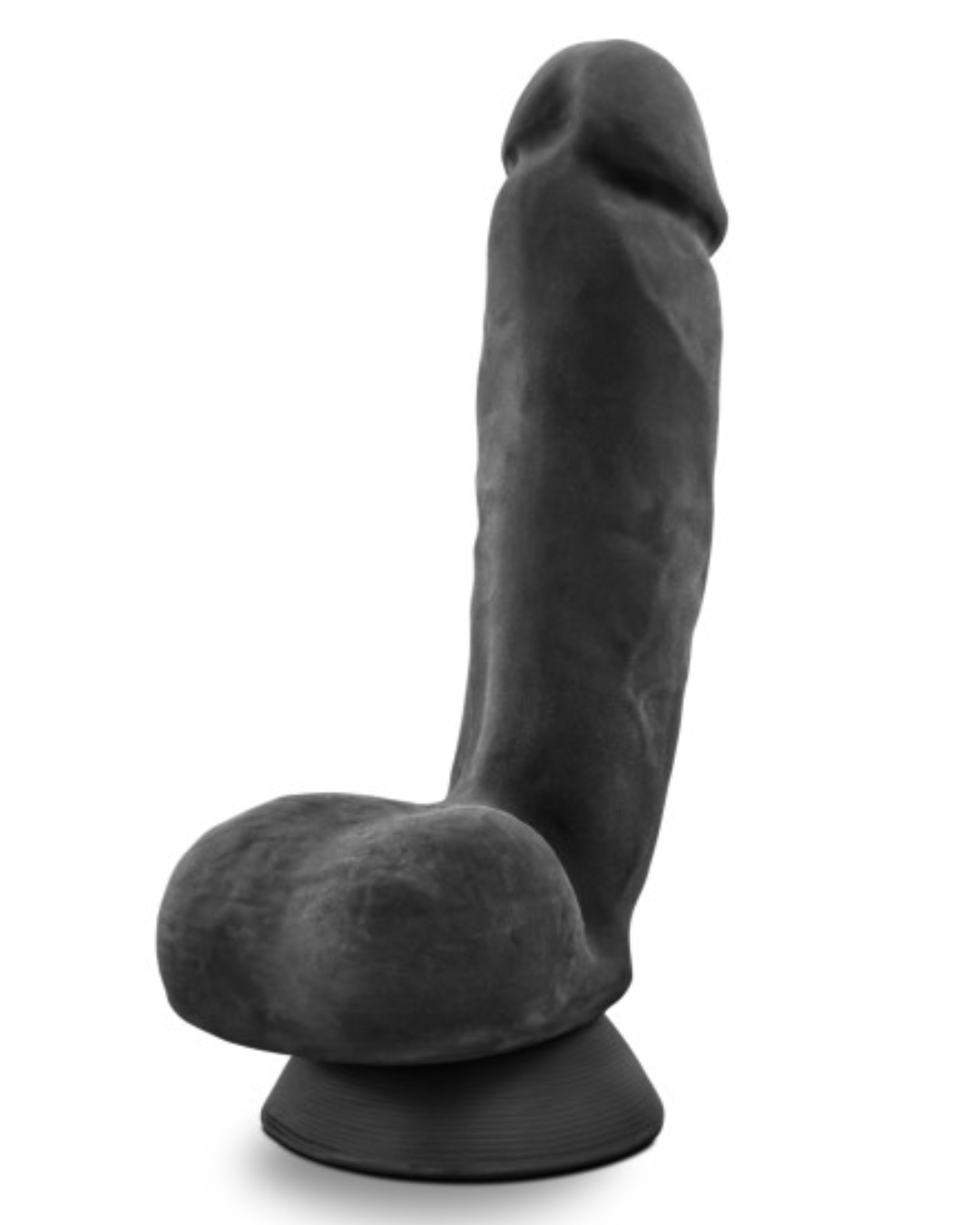 Au Naturel Bold Pound 8.5 Inch Sensa Feel Suction Cup Dildo by Blush - Black back view of the testicles