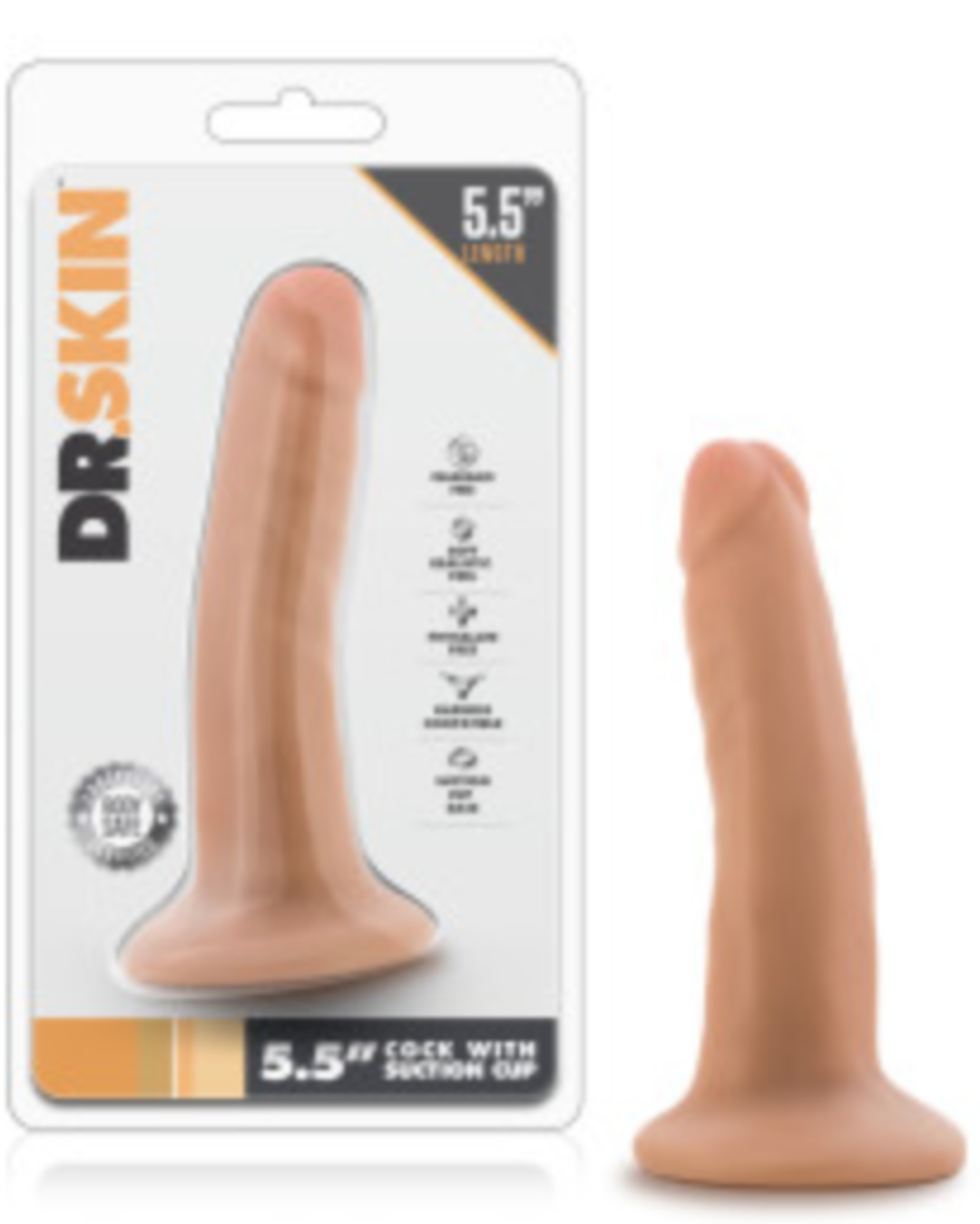 Dr Skin 5.5 Inch Dildo by Blush Novelties - Vanilla package and toy