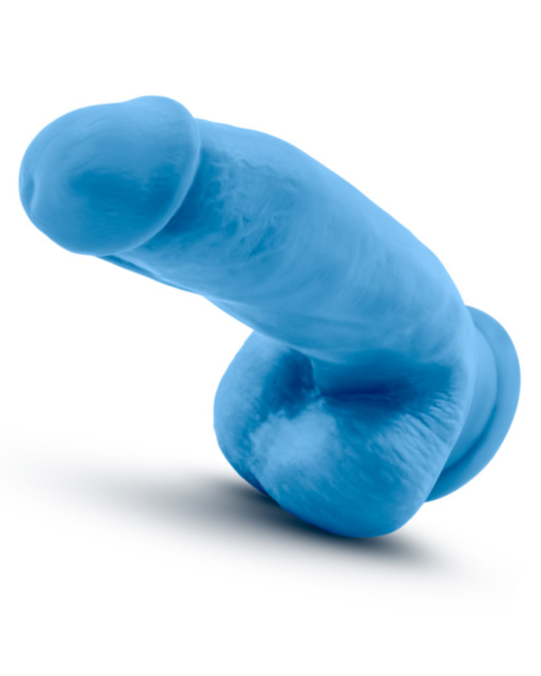 Neo Elite 7 Inch Dual Density Silicone Dildo with Balls by Blush - Neon Blue horizontal view of the tip