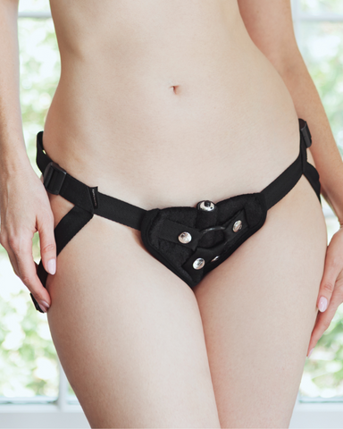 Vibrating Velvet Strap On Harness by Sportsheets on model close up