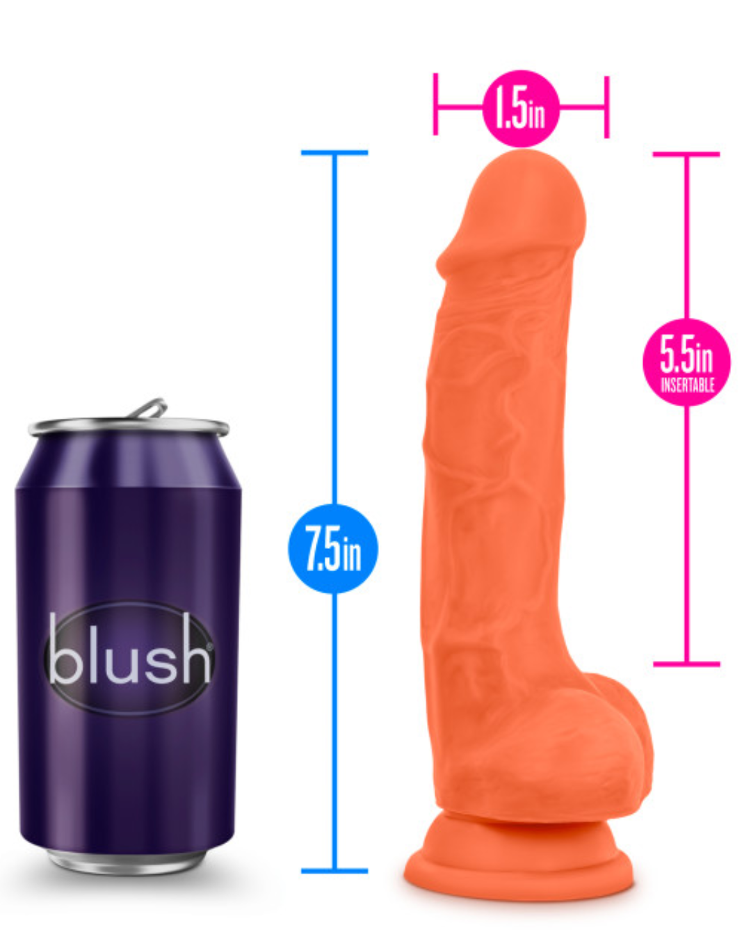 Neo Elite 7.5 Inch Dual Density Silicone Dildo by Blush - Neon Orange showing measurements