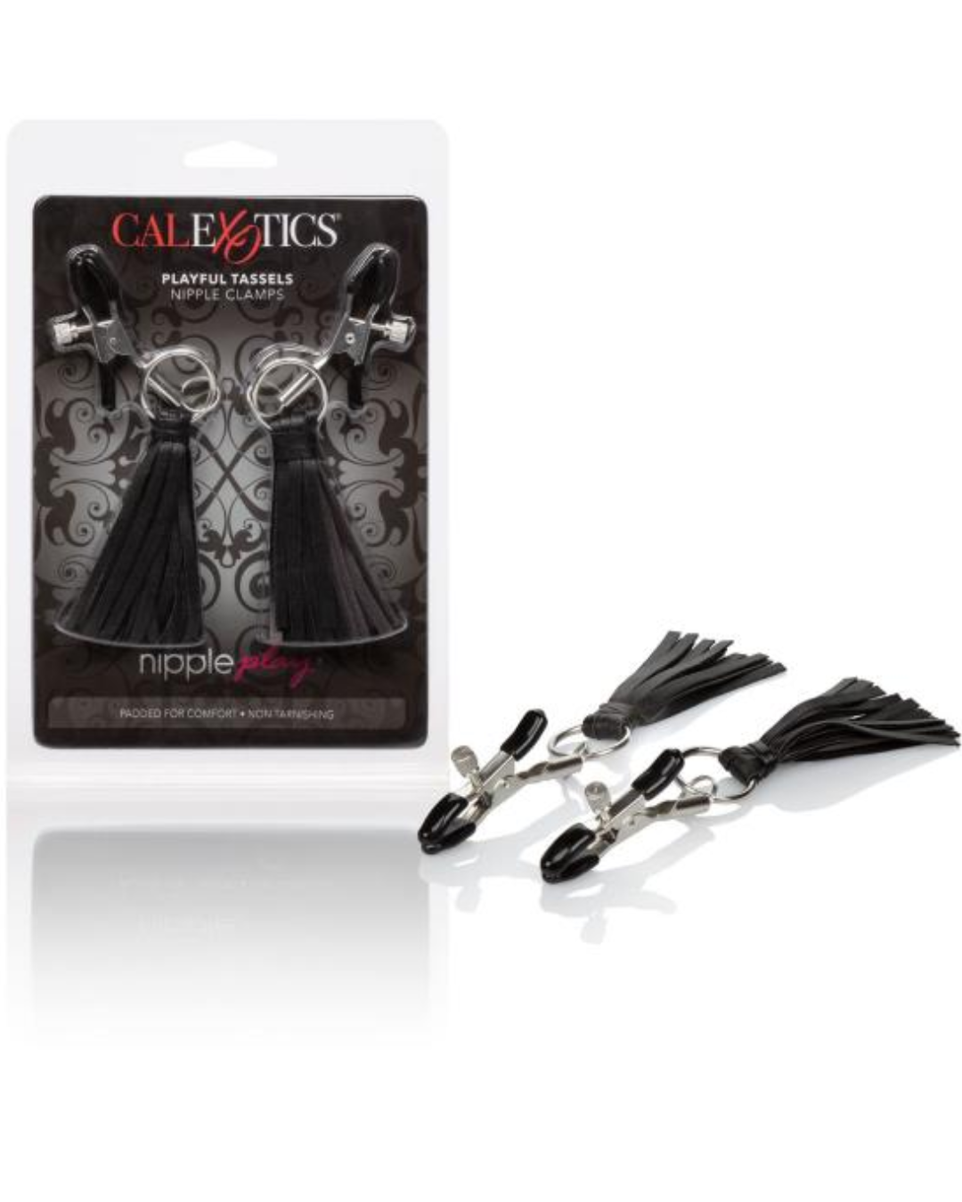 Nipple Play Playful Tassels Nipple Clamps by CalExotics - Black with package