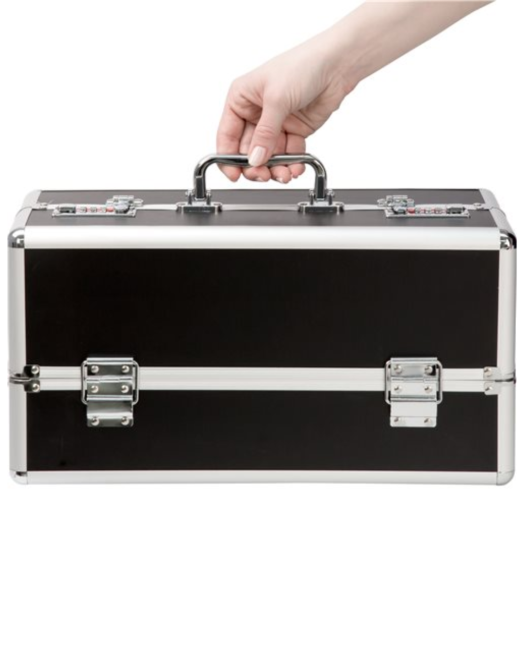 Lockable Sex Toy Storage Case Large Double Tiered - Black with a hand on the handle