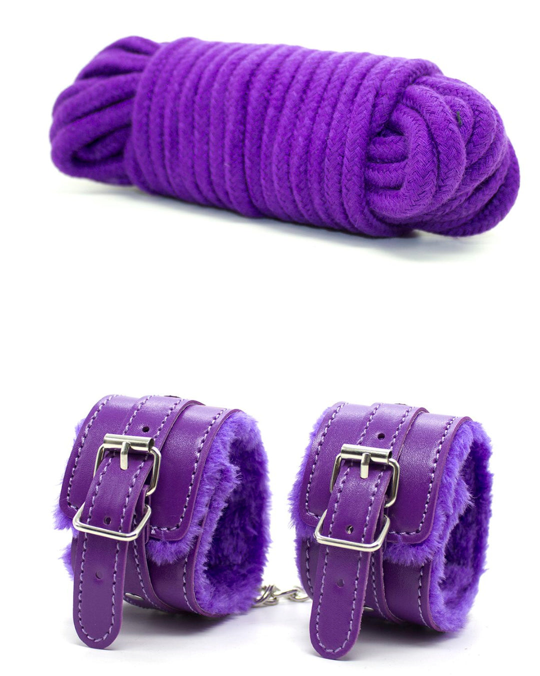 Rope and cuffs from the Everything Bondage 9 Piece Beginner's Bondage Kit - Purple