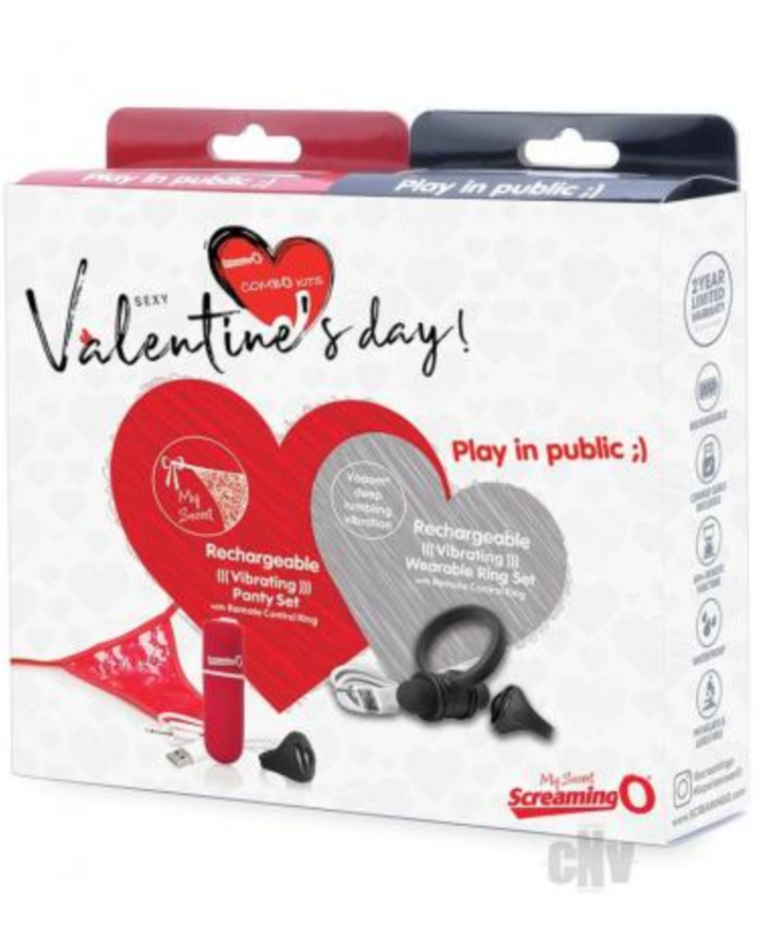 Valentine Panty Vibrator and Cock Ring Set by Screaming O Box