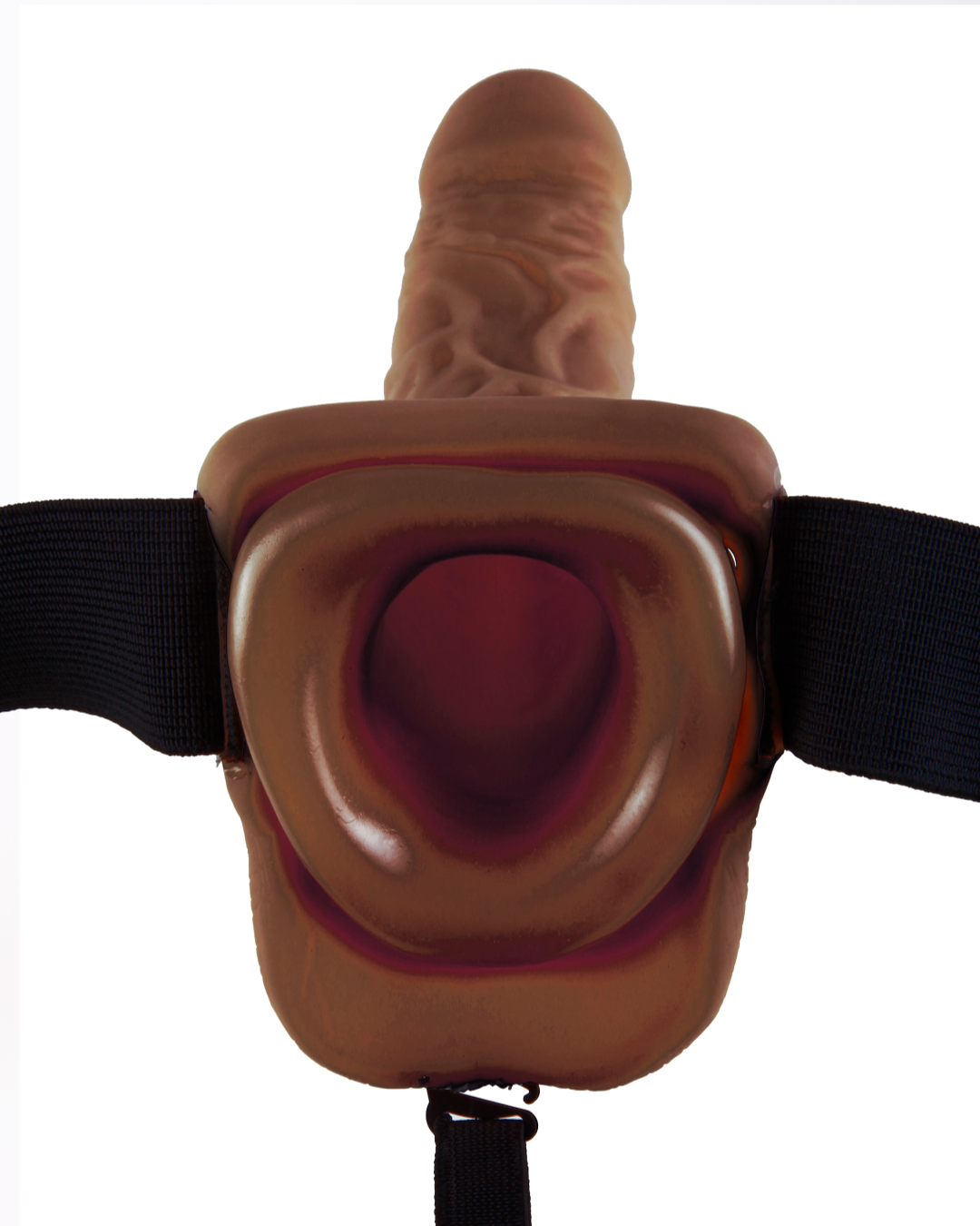 Fetish Fantasy Vibrating Hollow Strap On Dildo with Balls 9 inches - Chocolate view inside the hollow end