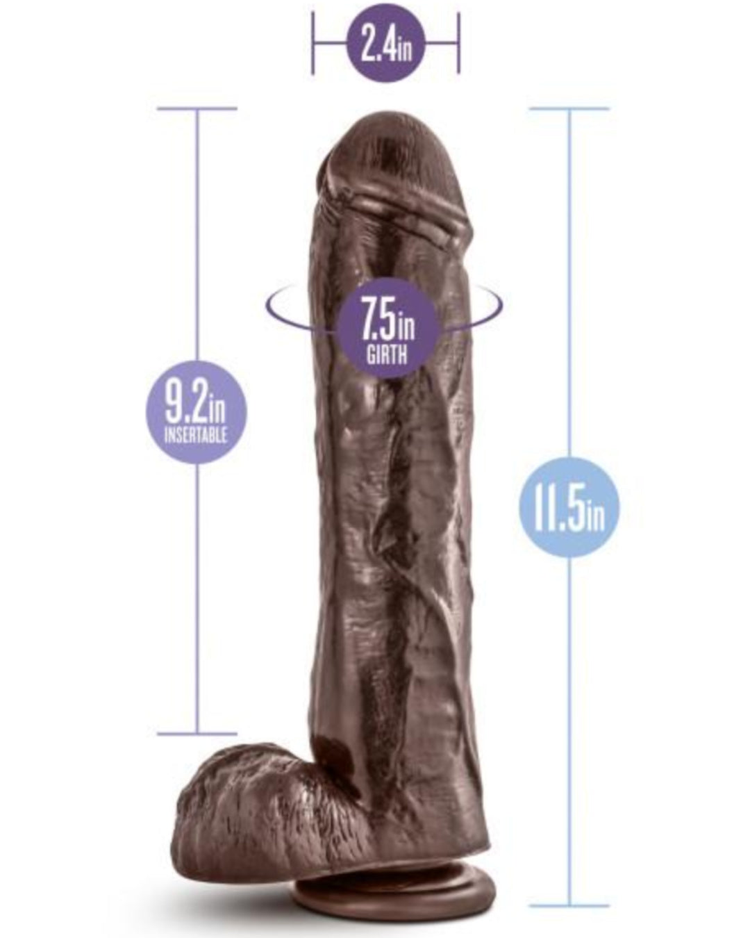 Dr Skin Mr Savage 11.5 inch Dildo with Suction Cup by Blush Novelties - Chocolate Measurements