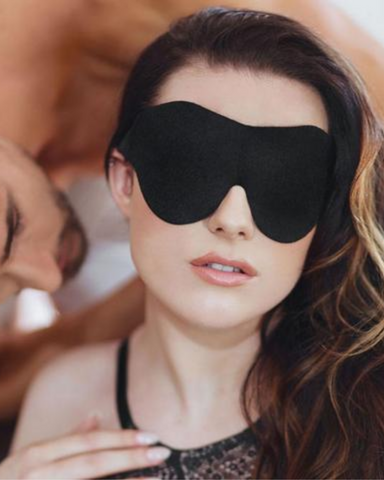 Soft  Black Blindfold by Sportsheets on model