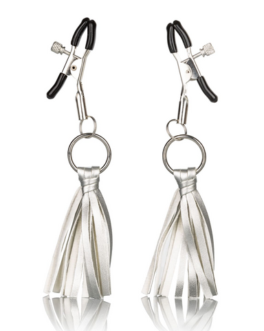 Nipple Play Playful Tassels Nipple Clamps by CalExotics - Silver