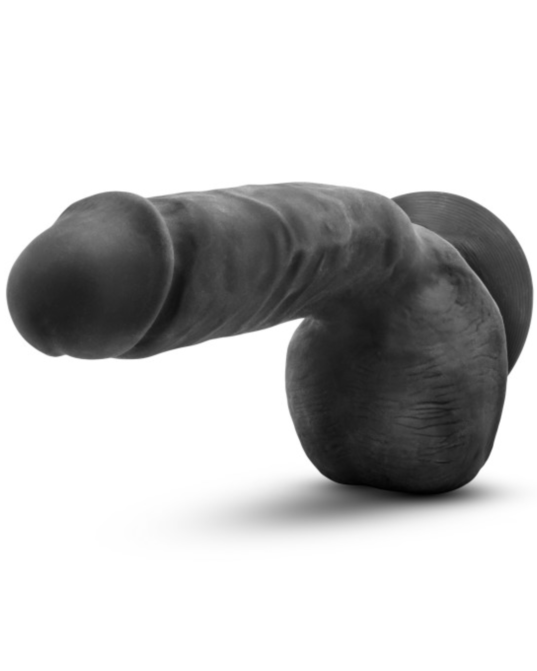 Au Naturel Bold Pound 8.5 Inch Sensa Feel Suction Cup Dildo by Blush - Black horizontal view of the tip
