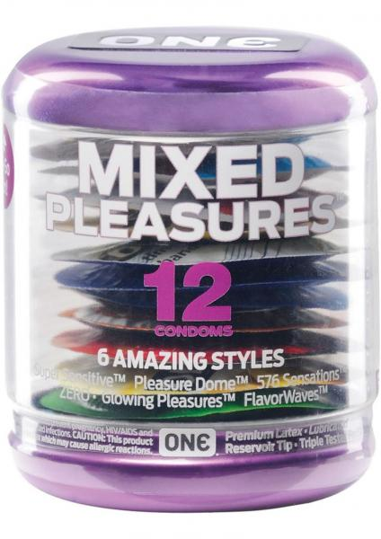One Mixed Pleasures 12 Pack Lubricated Latex Condoms