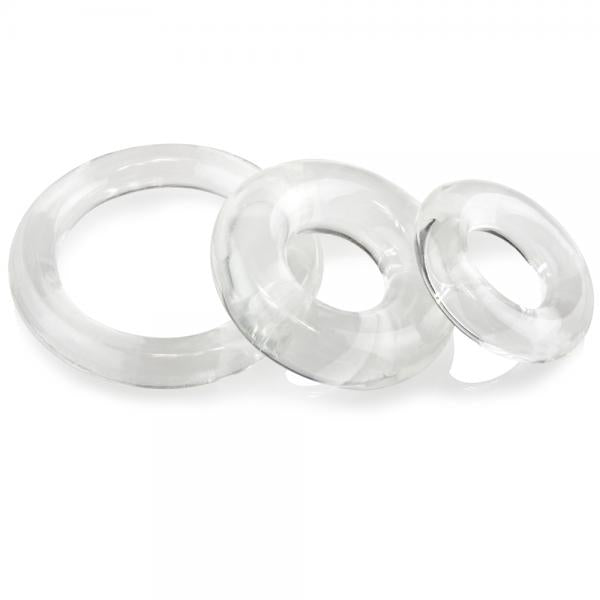 Screaming O Ringo 3 piece Cock Ring Set clear