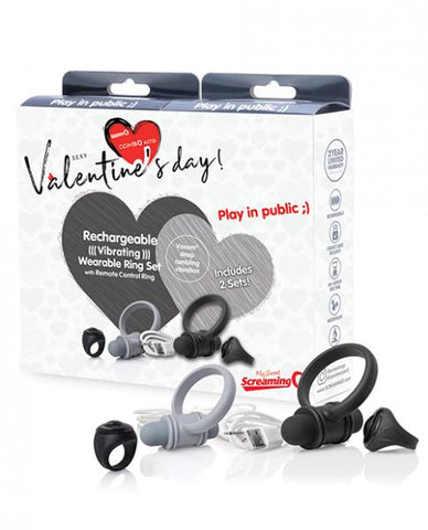 Valentine Cock Ring and Bullet Vibrator Remote Set By Screaming O products and box