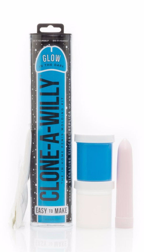 Clone A Willy Vibrating Silicone Penis Casting Kit - Glow In the Dark Blue kit contents