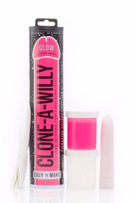 Clone A Willy Vibrating Silicone Penis Casting Kit - Glow In the Dark Pink contents