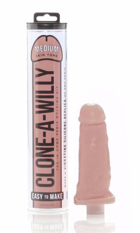 Clone A Willy Vibrating Silicone Penis Casting Kit - Medium Tone with finished product