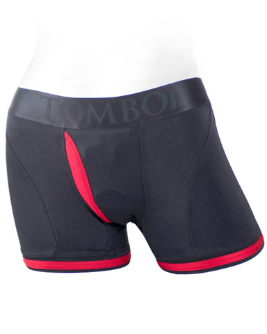 Spareparts Tomboii Packing Harness Boxer Briefs  - Black & Red Nylon