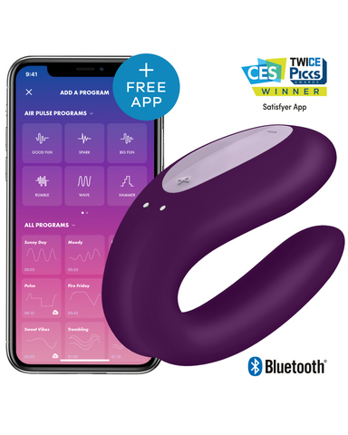 Double Joy Wearable App Controlled Couples Vibrator - Purple