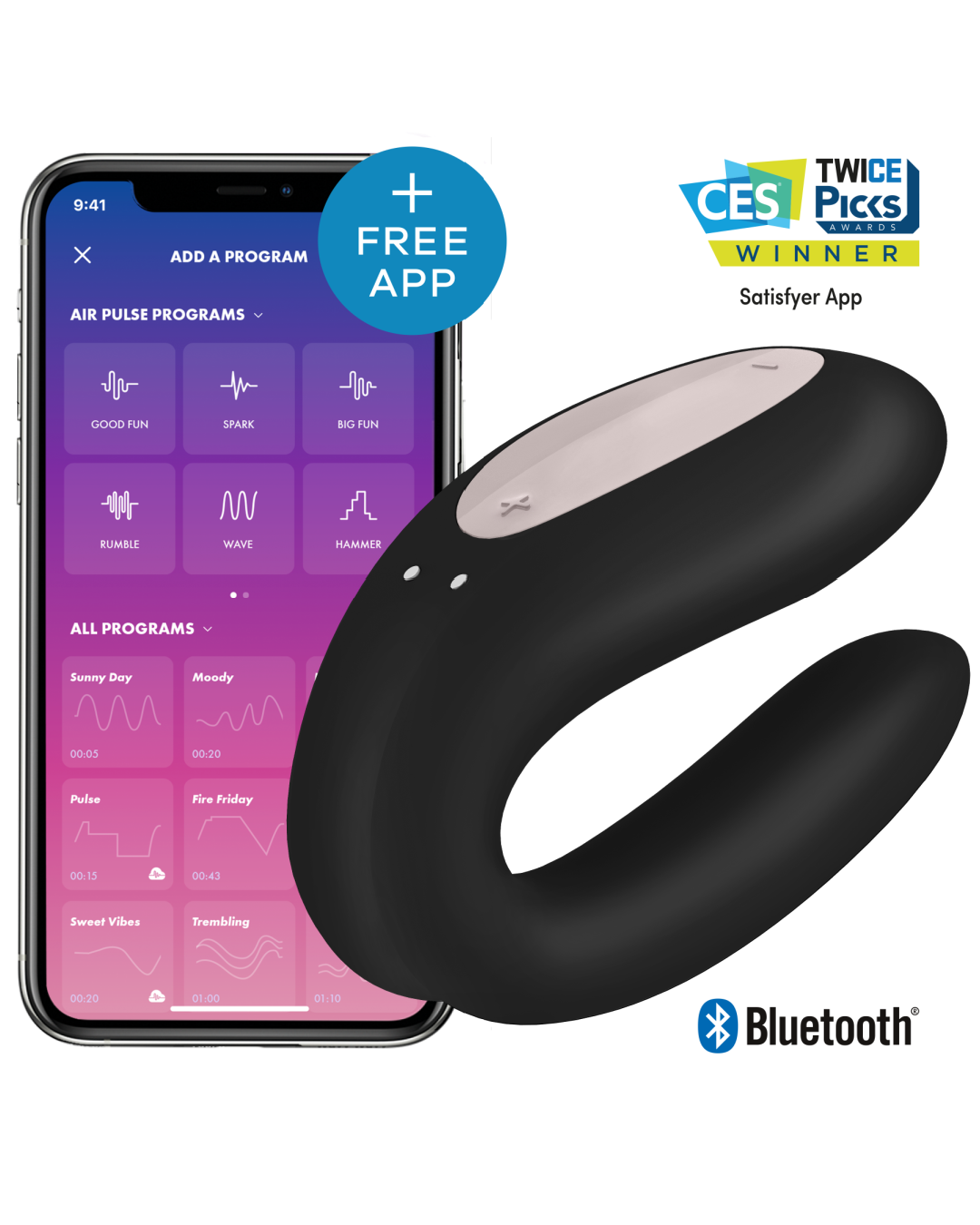 Double Joy Wearable App Controlled Couples Vibrator with a smartphone showing the Satisfyer app