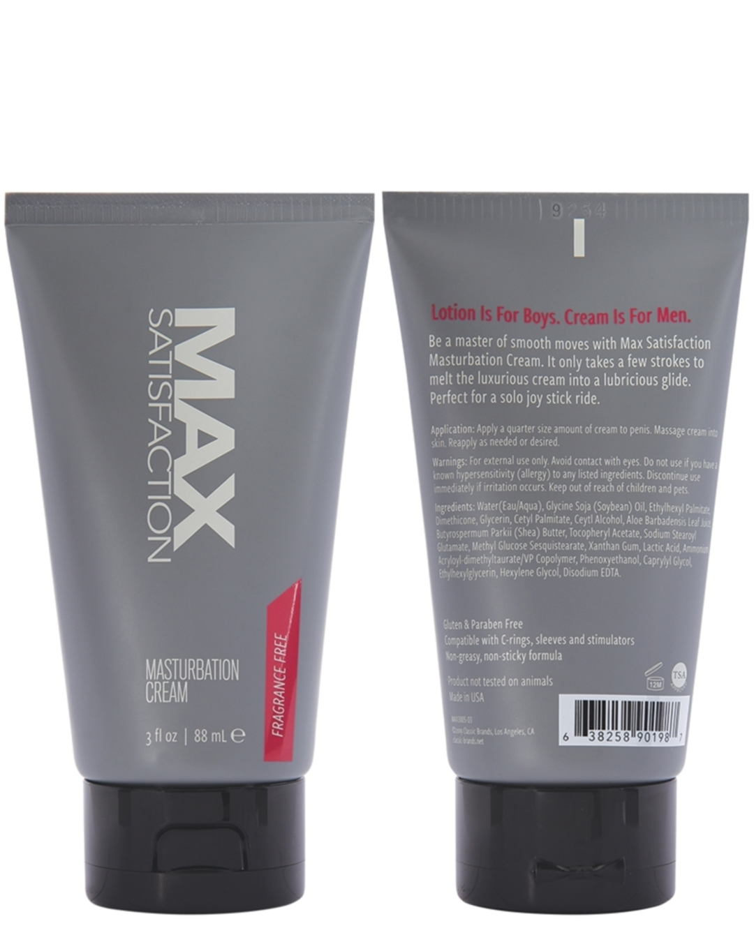 Max Satisfaction Masturbation Cream 3 oz front and back of tube