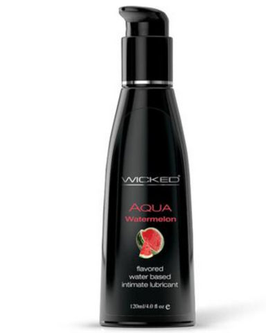 Wicked Aqua Watermelon Flavored Lubricant - 4 oz front of bottle of white background