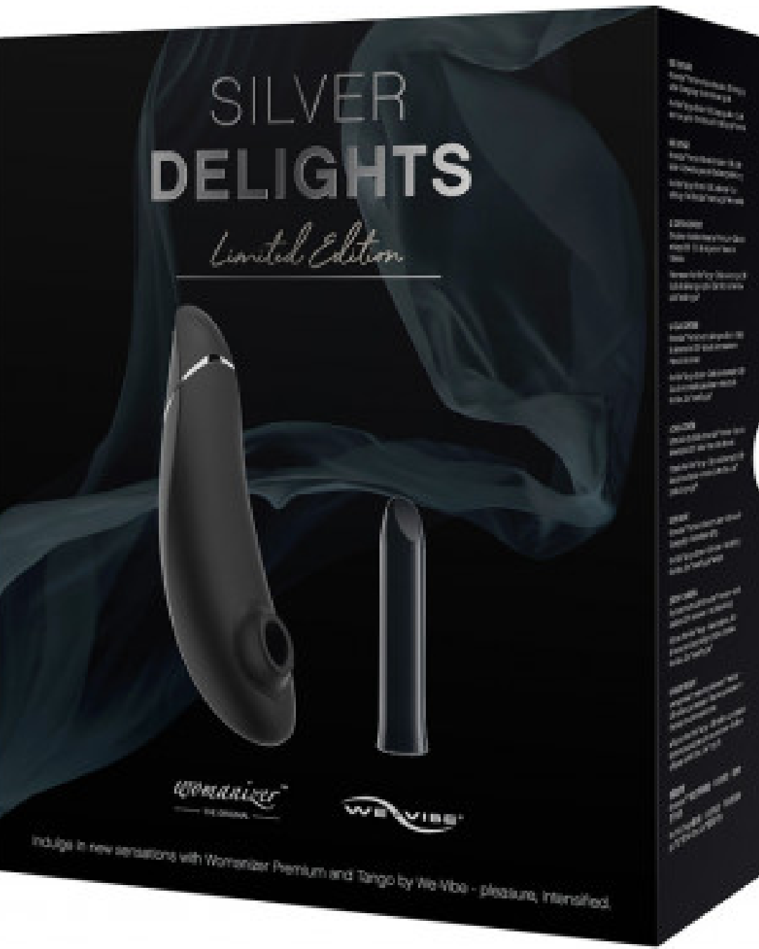 Womanizer Premium and We-Vibe Tango Silver Delights Vibrator Set product box